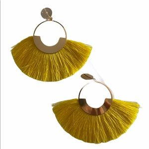 Yellow Gold Fan Fringe Tassel Earrings